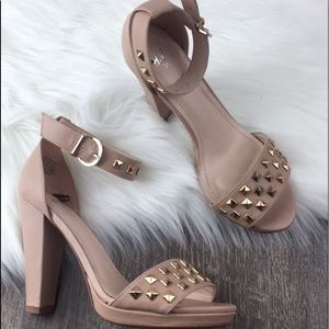 Nude ankle strap heels with studded detail